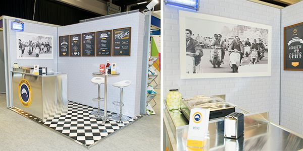 Fish and chip shop themed exhibition stand