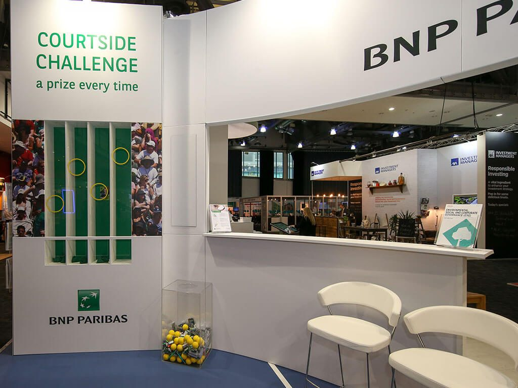 BNP Paribas courtside challenge stand engagement tool
