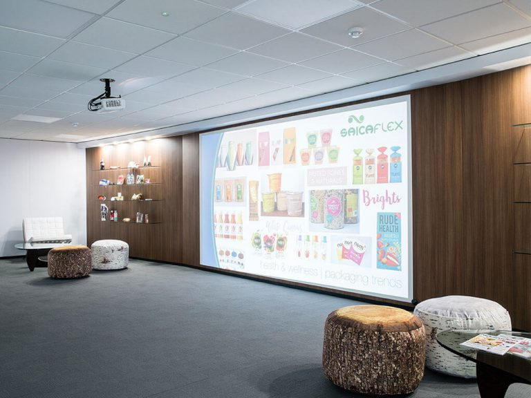 Americk Packaging revamped presentation area - projection screen