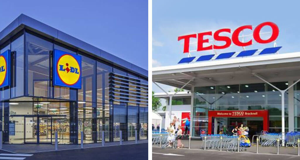 Lidl and Tesco supermarkets